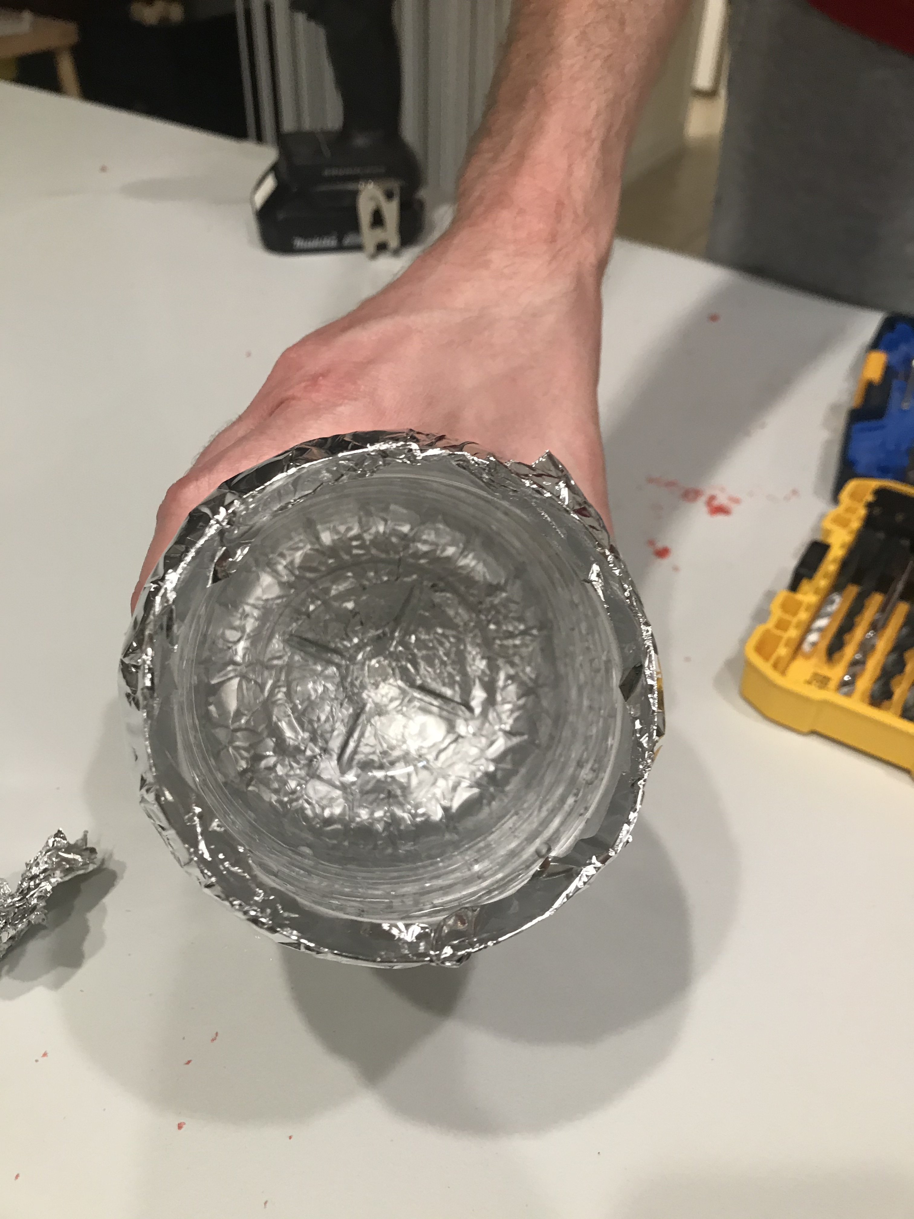 Inside of Bottle with Foil Wrapped Around